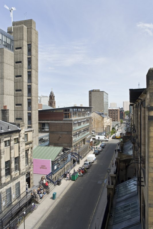 View looking east along Renfrew Street, showing the Student Union, Newbery Tower and Foulis Building on the north side and the Mackintosh building to the south, taken from the roof of the Bourdon Building