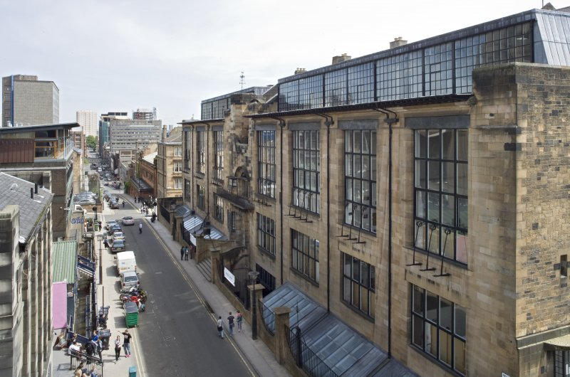 Oblique view looking east along the north elevation of the Mackintosh building, taken from the roof of the Bourdon Building