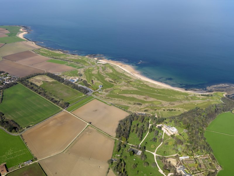 Oblique aerial view of Kingsbarns Golf Course, with the Cambo Estate to the fore, taken from S.