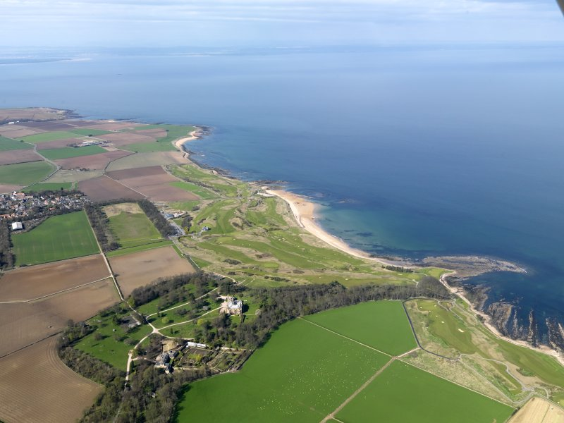 Oblique aerial view of Kingsbarns Golf Course, with the Cambo Estate to the foreground, taken from S.
