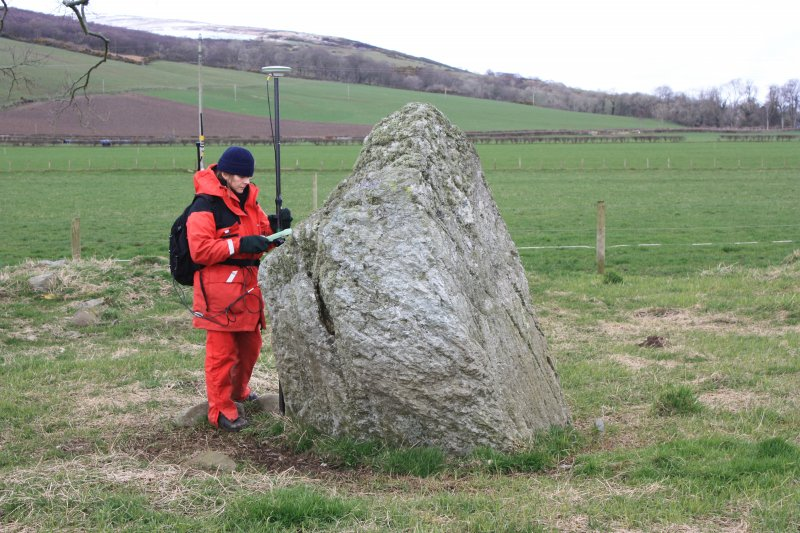 Georgina Brown of RCAHMS surveying at Ettrick stone circle.