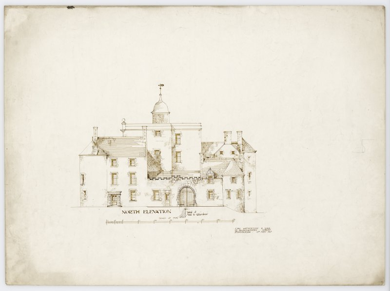 Drawing showing North elevation of Hatton House and detail of moulding to cellar door From a portfolio of drawings titled: 'Hatton House, Alterations for William Whitelaw, Esq.'