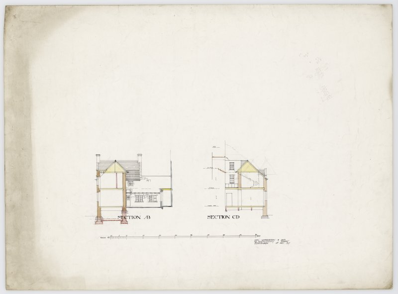 Drawing showing sections of Hatton House From a portfolio of drawings titled: 'Hatton House, Alterations for William Whitelaw, Esq.' Titled: 'Section AB', 'Section CD'