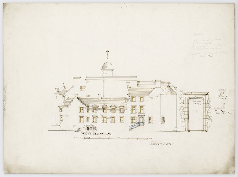 Drawing showing West elevation of Hatton House and details of garden door and cornice and jamb moulding of door From a portfolio of drawings titled: 'Hatton House, Alterations for William Whitelaw, Esq.'