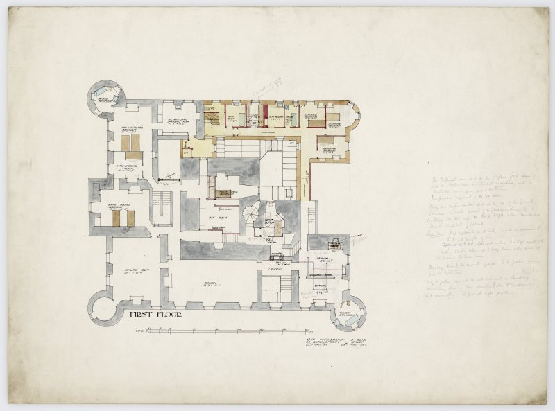 Drawing showing plan of first floor of Hatton House with alterations From a portfolio of drawings titled: 'Hatton House, Alterations for William Whitelaw, Esq.'
