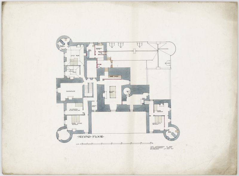 Drawing showing plan of second floor of Hatton House From a portfolio of drawings titled: 'Hatton House, Alterations for William Whitelaw, Esq.'