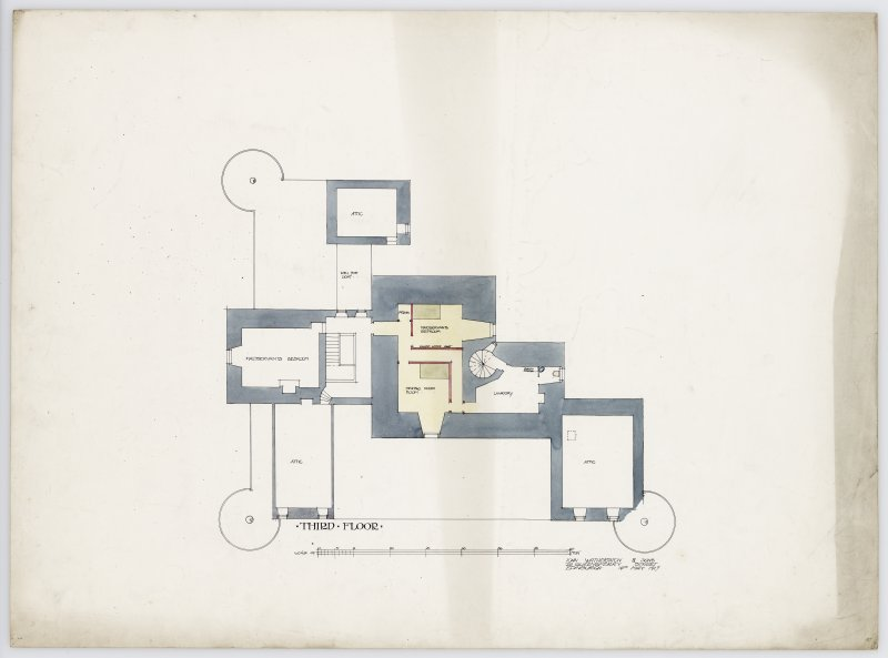 Drawing showing plan of third floor of Hatton House From a portfolio of drawings titled: 'Hatton House, Alterations for William Whitelaw, Esq.'