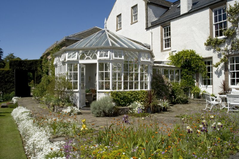 Conservatory and terrace, view from ESE