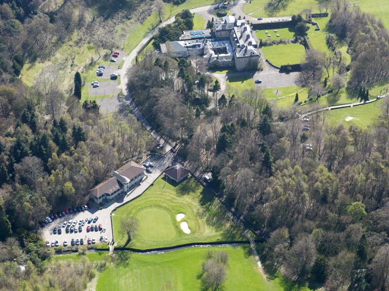 Oblique aerial view of Balbirnie House, taken from the NW.