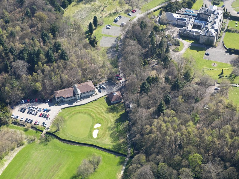 Oblique aerial view of Balbirnie House, taken from the WNW.