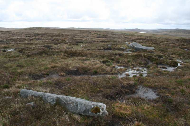 View of fallen monoliths and packing stones on SW arc of circle. Achmore, Lewis.