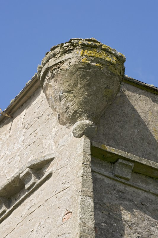 Detail of turret corbel at SW corner of main house