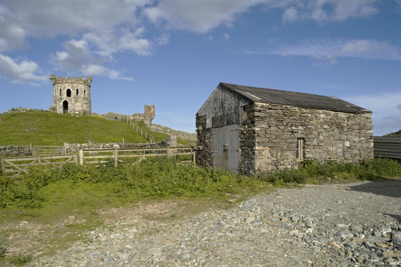 Tower on remains of broch and barn to N of main house, general view from W