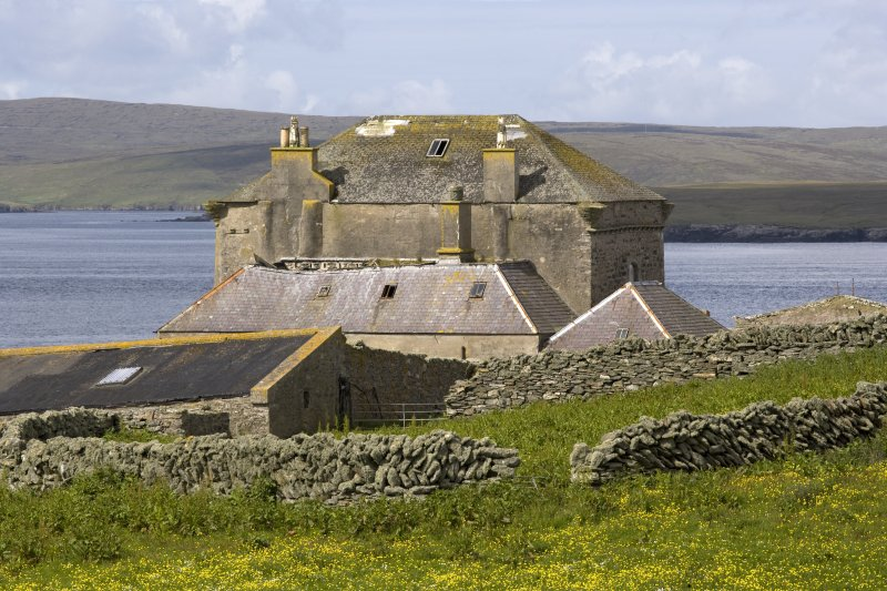 View of Brough Lodge house, Fetlar, from ENE.
