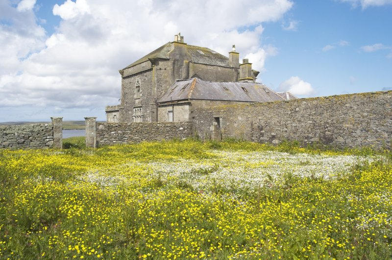 General view of house from walled garden to ESE, Brough Lodge, Fetlar.