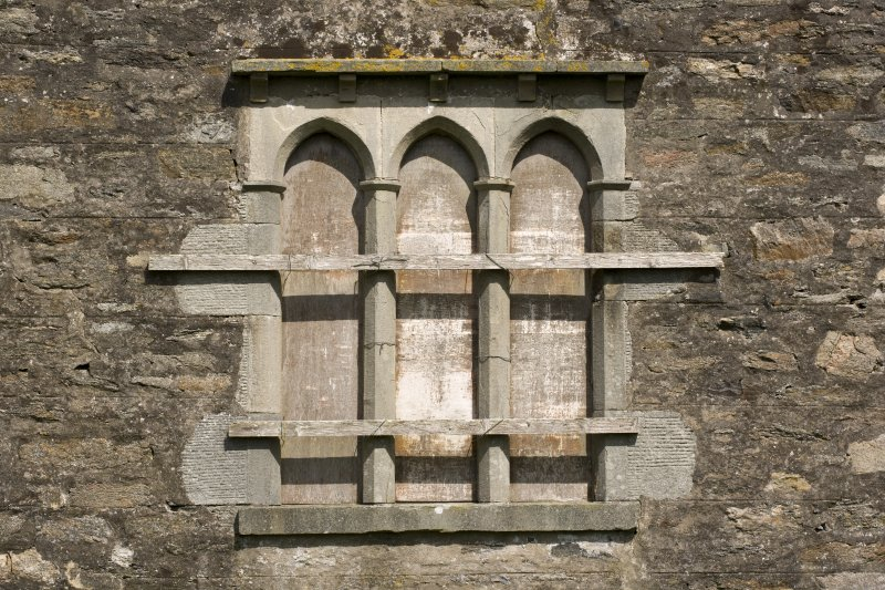 S facade, detail of triple arched window at ground floor level