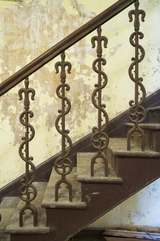 Interior view of ground stairs with detail of balusters on staircase, Brough Lodge, Fetlar.