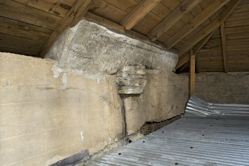 Interior. Attic, view showing temporary corrugated roof and wall head