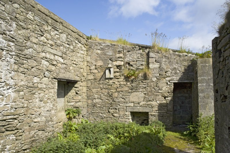 Interior. Bothy to N of main house, view from S showing blocked openings