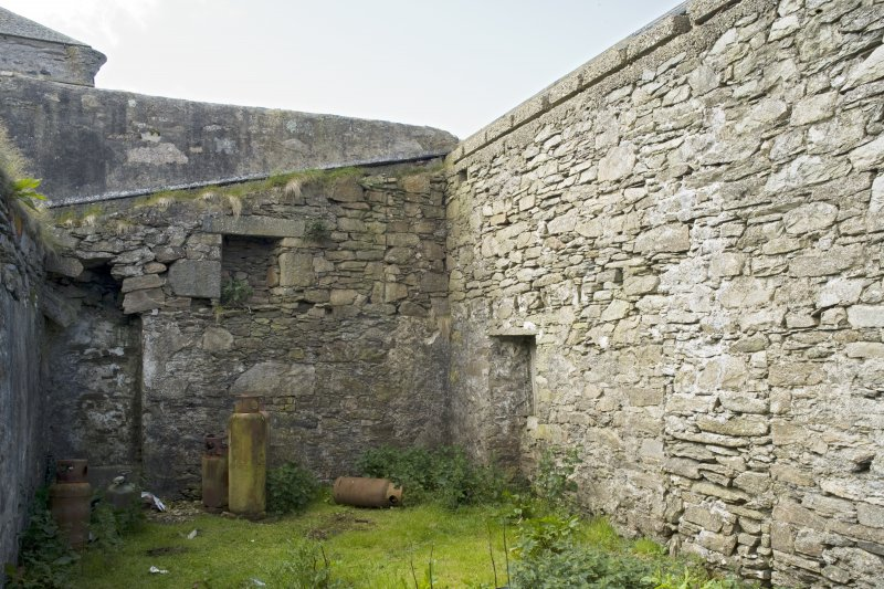 Interior. Bothy to N of main house, view from N showing blocked openings
