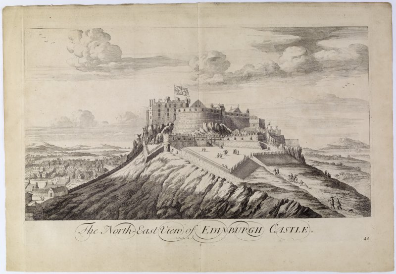 Edinburgh Castle. Copy of copper plate engraving titled 'The North-east view of Edinburgh Castle.' [Numbered 44 in ink]