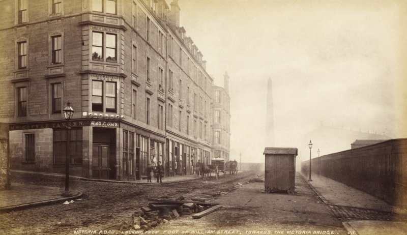 Victoria Road, looking  from foot of William Street, towards the Victoria Bridge, Dundee showing the Coffee Tavern