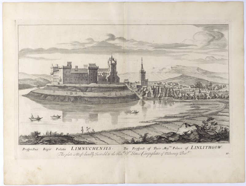 Pl.10 Linlithgow. Copy of copper plate engraving titles 'Prospectus Regis Palatis. Limnuchensis. The Prospect of their Majties Palace of Linlithgow. This plate is most humbly inscribed to the Honble James Conynghame of Milncraig Bart.' Shown is the terracing of the knoll on which the palace stands.