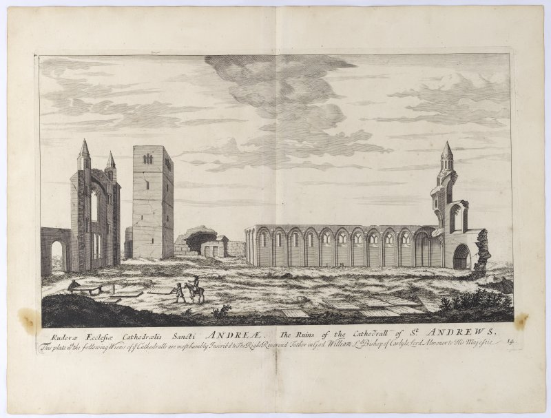 Pl.14 St. Andrews Cathedral. Copy of copper plate engraving titled 'Ruderae Ecclesiae Cathedraelis Sancti Andreae. The ruins of the Cathedrall of St. Andrews. This plate is most humbly inscribed to th ...