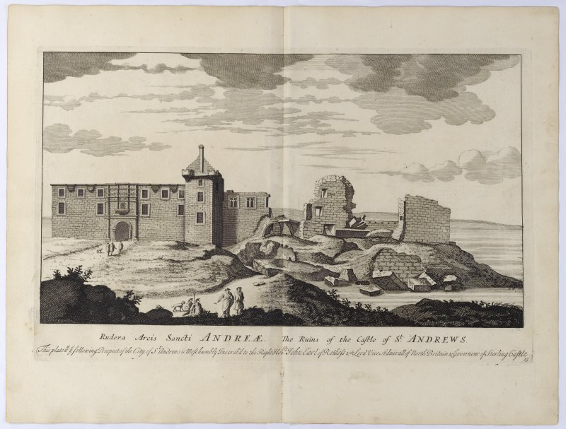 Pl.15 St. Andrews Castle. Copy of copper plate engraving titled 'Rudera Arcis Sancti Andreae. The ruins of the Castle of St. Andrews. This plate with ye following Prospect of the City of St. Andrews is most humbly inscribed to the Rt. Honble. John Earl of Rothes etc. Lord Vice Admiral of North Britain and Governour of Sterling Castle.'