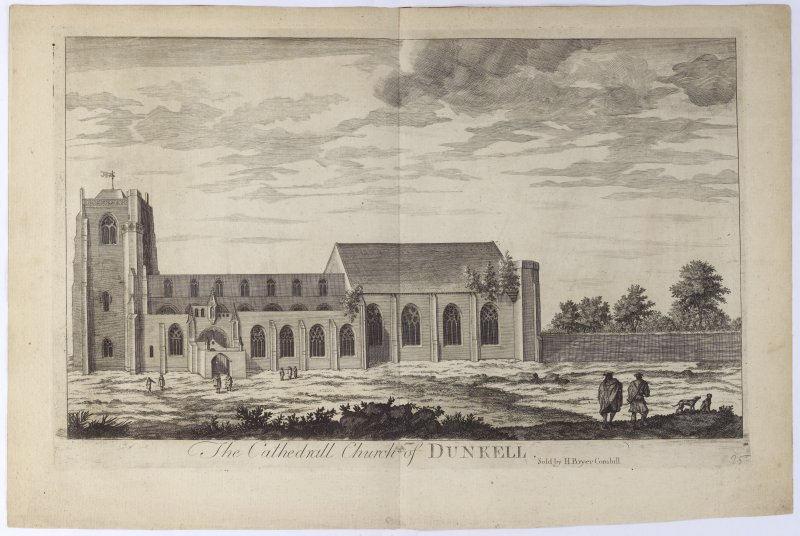 Pl.25 Dunkeld Cathedral. Copy of copper plate engraving titled 'The Cathedrall Church of Dunkeld. Sold by H. Bryer, Cornhill.'
