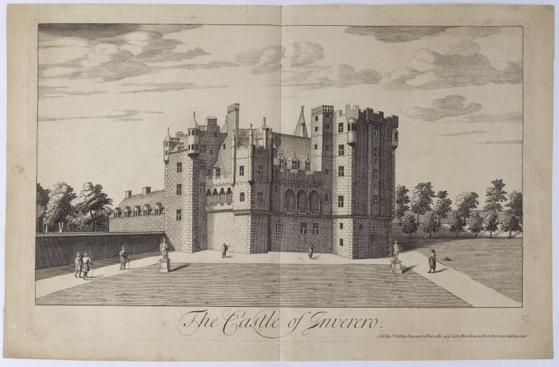 Pl.28 Inverary Castle. Copy of copper plate engraving titled 'The Castle of Inveraro. Sold by I. Nutting, Engraver & Print Seller at ye Gold & Blew Fanns, in Fleet Street, near Salisbury Court.'