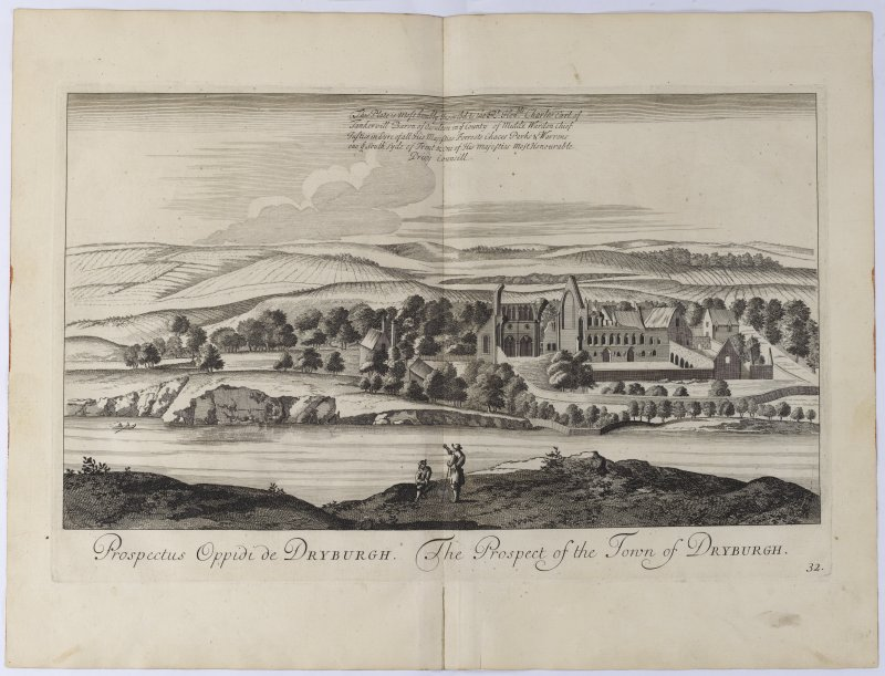 Pl.32 Dryburgh. Copy of copper plate engraving titled 'Prospectus Oppidi de Dryburgh. The prospect of the town of Dryburgh.'