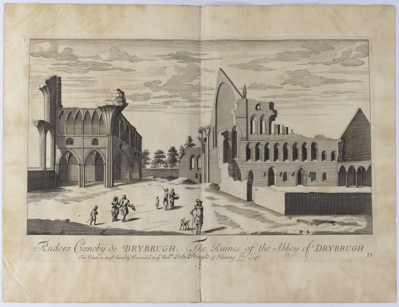 Pl.33 Dryburgh Abbey. Copy of copper plate Engraving titled 'Rudera Coenobiij de Drybrugh. The Ruines of the Abbey of Dryburgh. This plate is most humbly inscribed to the Honble. John Pringle of Haining, Esqr.'