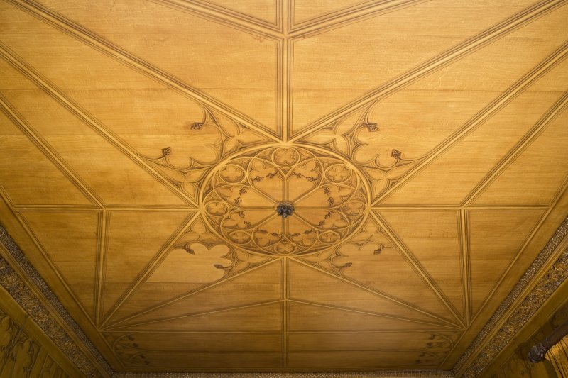 Ground floor, dining room, view of ceiling with trompe l'oeil panelling. Dunninald Castle