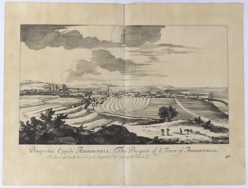 Arbroath, Copy of copper plate engraving titled 'Prospectus Oppidi Aberbrothiae. The Prospect of ye town of Aberbrothick. This plate is most humbly inscribed to the Right Honble. the Earl of Northesk etc.'