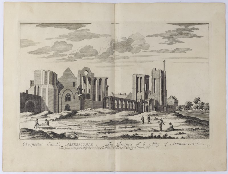 Pl.41 Arbroath Abbey. Copy of copper plate engraving titled 'Prospectus Caenobij Aberbrothiae The Prospect of the Abbey of Aberbrothick. This plate is most humbly inscribed to The Honble. Collonell Ro ...