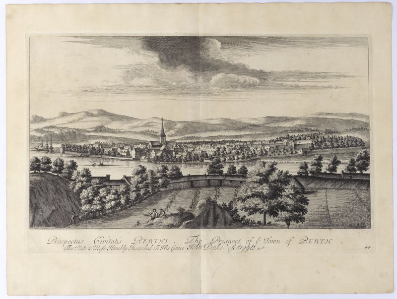 Pl.44 Perth. Copy of copper plate engraving titled 'Prospectus Civitatis Perthi The prospect of ye town of Perth. This plate is most humbly inscribed to His Grace John, Duke of Argyle etc.'