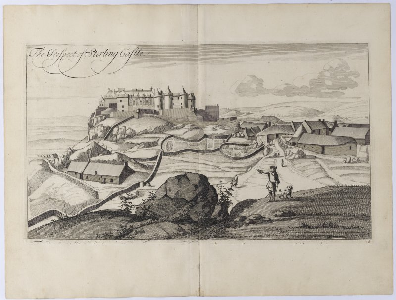 View of Stirling Castle. Copy of copper plate engraving titled 'The prospect of Sterling Castle.'