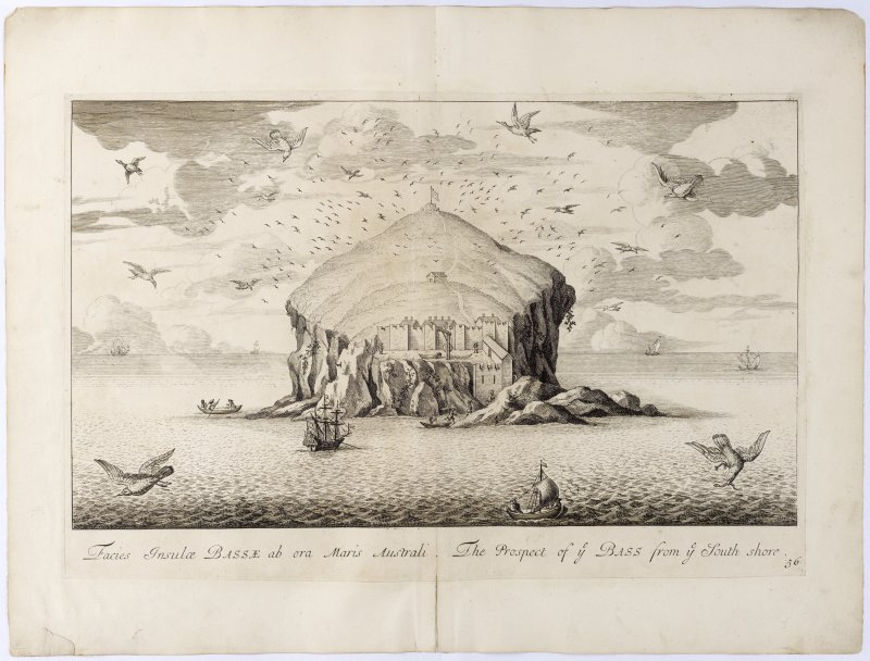 Pl. 56 Bass Rock. Copy of copper plate engraving titled 'Facies Insulae Bassae ab ora Maris Australi. The prospect of ye Bass from ye south shore.'