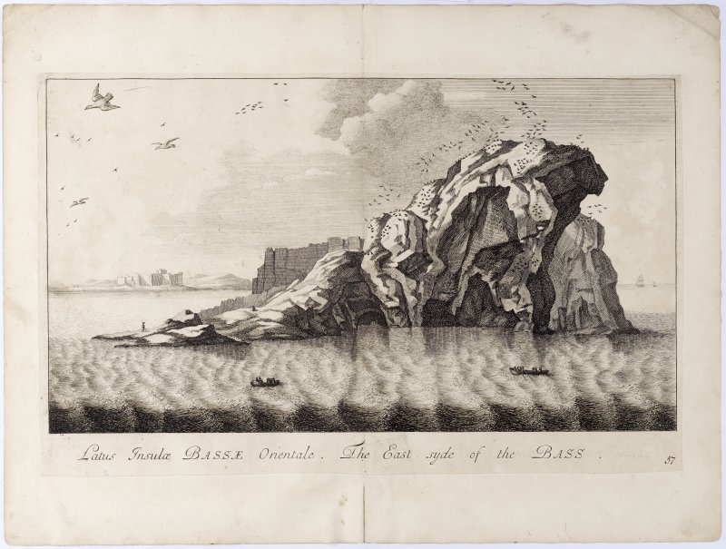 Pl.57 Bass Rock. Copy of copper plate engraving titled 'Latus Insulae Bassae Orientale. The East syde of the Bass.'
