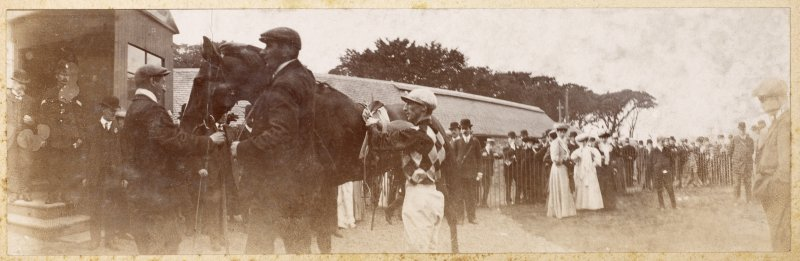 View of horse and jockey at race course, possibly Musselburgh.