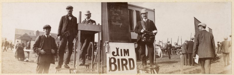 View of 'Jim Bird' bookie at race course, possibly Musselburgh.