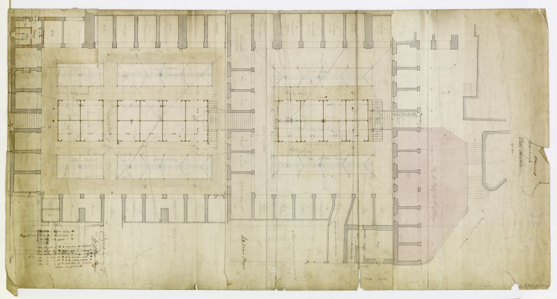 Drawing showing plan with proposed alterations Titled: 'Edinburgh Flesh Markets' Signed in an offer by William Raffin