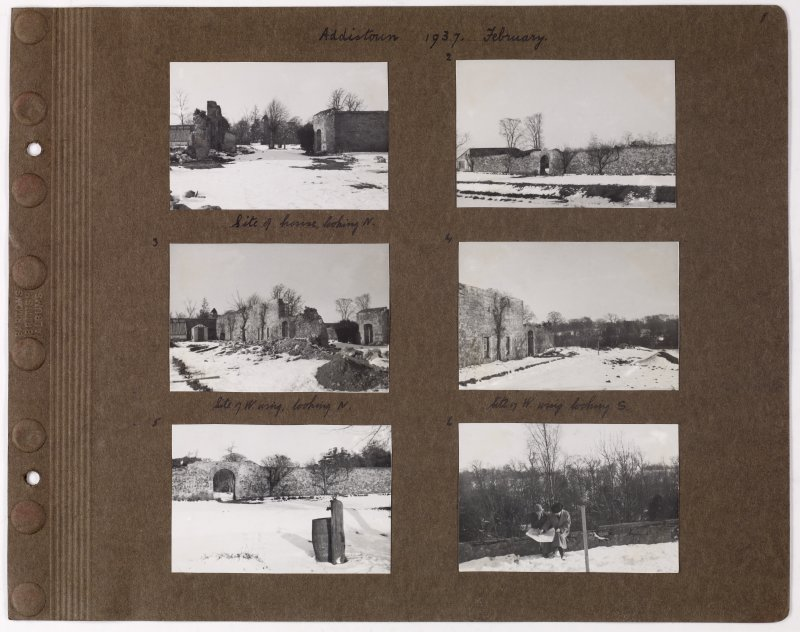 Six album photographs showing remains of previous house in snow. Page titled: 'Addistoun 1937. February'  PHOTOGRAPH ALBUM NO.145: ADDISTOUN