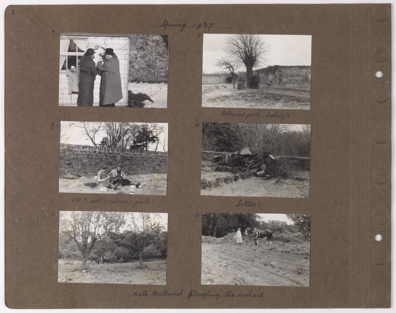 Six album photographs showing the surrounding area including the architect and 'Kate Borthwick ploughing the orchard'. Page titled: 'Spring 1937.'  PHOTOGRAPH ALBUM NO.145: ADDISTOUN
