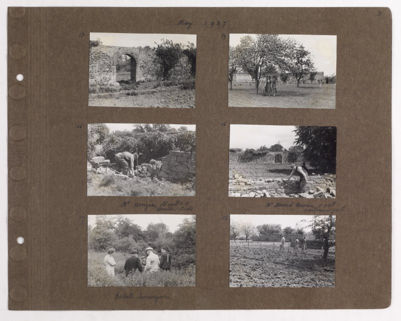 Six album photographs showing views of estate including old garden walls, glass houses and surveyors.  Page titled: 'May 1937.'  PHOTOGRAPH ALBUM NO.145: ADDISTOUN