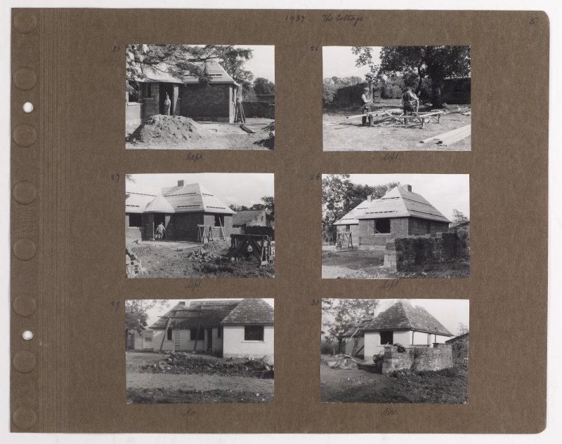 Six album photographs showing views during construction works. Page titled: '1937 The Cottage' PHOTOGRAPH ALBUM NO.145: ADDISTOUN