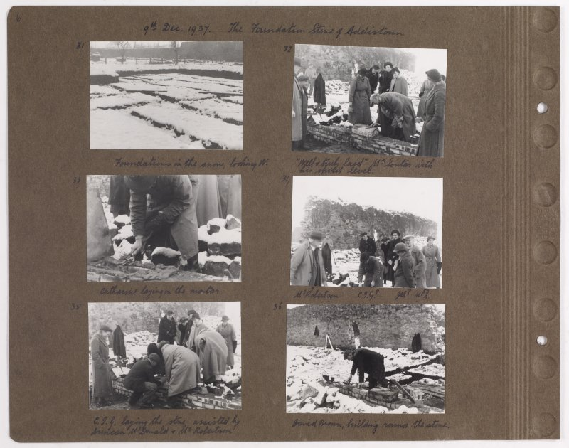 Six album photographs showing the construction of Addistoun House, including the architect Charles Geddes Soutar. Page titled: '9th Dec 1937. The Foundation Stone of Addistoun' PHOTOGRAPH ALBUM NO.145: ADDISTOUN