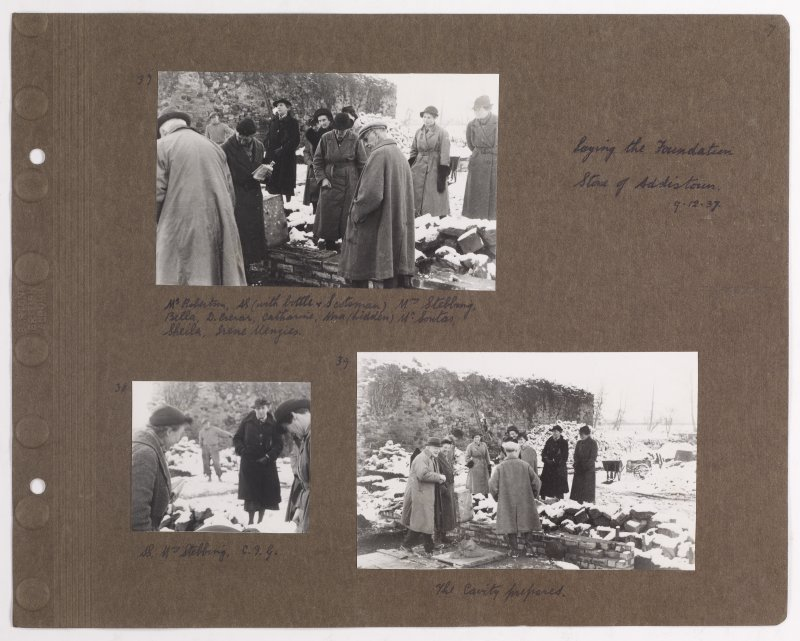 Three album photographs showing the construction of Addistoun House, including the architect Charles Geddes Soutar. Page titled: 'Laying the Foundation Stone of Addistoun 9.12.1937' PHOTOGRAPH ALBUM NO.145: ADDISTOUN