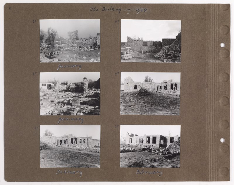 Six album photographs showing the construction of Addistoun House. Page titled: 'The Building 1938' PHOTOGRAPH ALBUM NO.145: ADDISTOUN